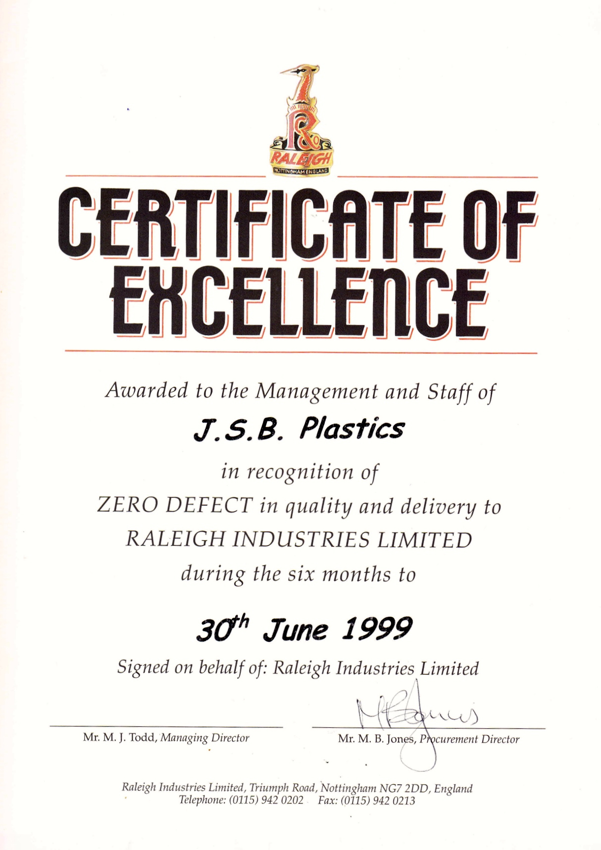 Raleigh Industries Certificate of Excellence awarded to JSB Plastics